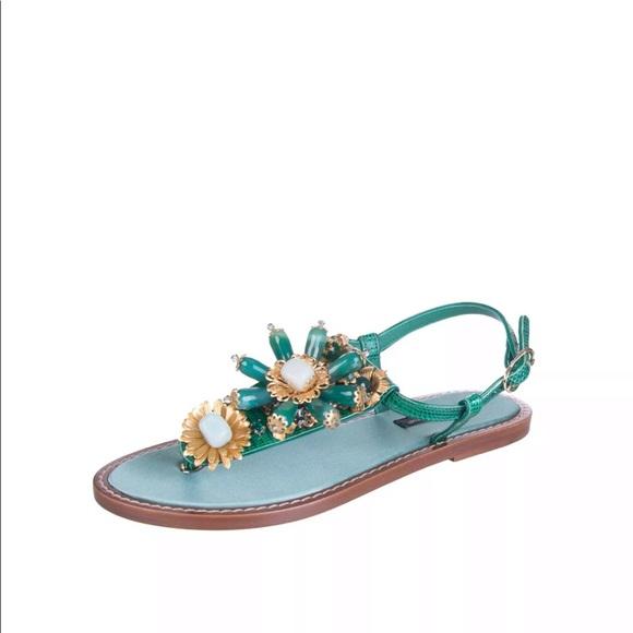 241327da6c42  950 Dolce Gabbana Leather slingback thong sandals. NWT. Dolce   Gabbana